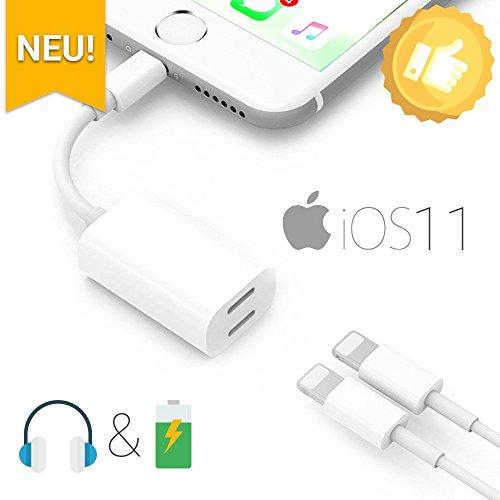 2 in 1 dual lightning adapter splitter f r iphone x. Black Bedroom Furniture Sets. Home Design Ideas